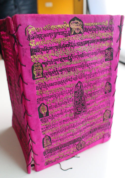 Tibetan Mantra with 8 Auspicious Symbol Printed Lokta Paper Lamp Shade - nepacrafts