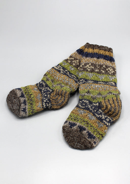 Olive Green Multicolored Childrens' Woolen Socks
