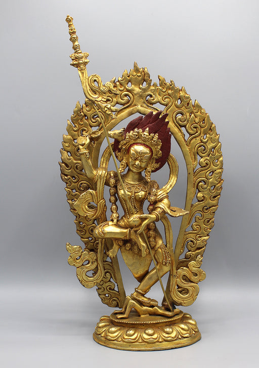 Fully Goldplated Wrathful Yogini Statue