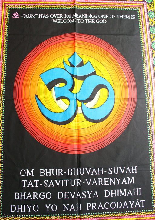 Hindu Sacred Om Mantra Printed Cotton Tapestry Wall Hanging - nepacrafts