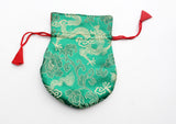 Dragon Silk Brocade Drawstring Mala Bag