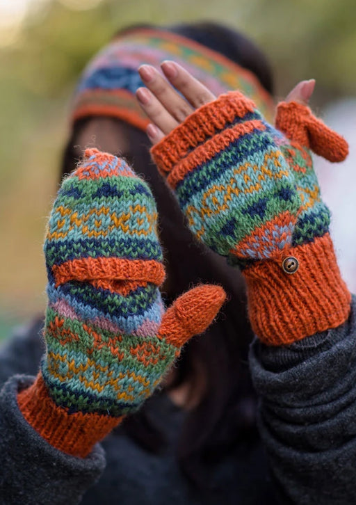 Orange Pure Wool Convertible Mittens