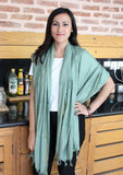 Light Green Cotton Plain Jari Scarf From Nepal - NepaCrafts