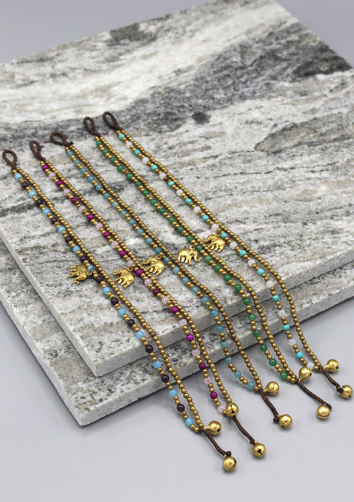 Multicolor Glass and Brass Beads Summer Anklet - nepacrafts