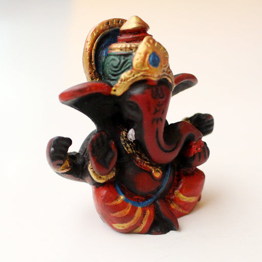 "Handpainted Maroon Red Baby Ganesha Resin Statue 2.5"" - nepacrafts"