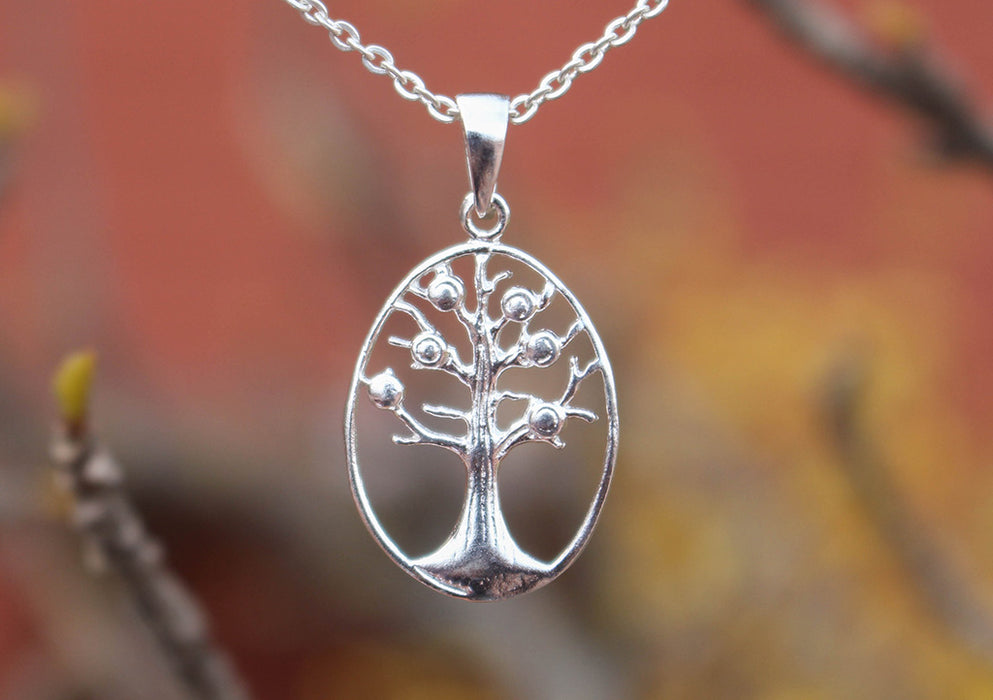 Oval Tree of Life Sterling Silver Necklace - nepacrafts