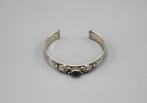 Turquoise Inlaid Sterling Silver Tibetan Bracelet - nepacrafts
