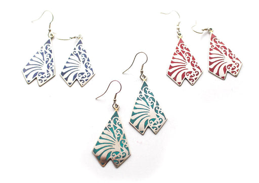 Triangle Shaped Inlaid White Metal Dangle Earrings - nepacrafts