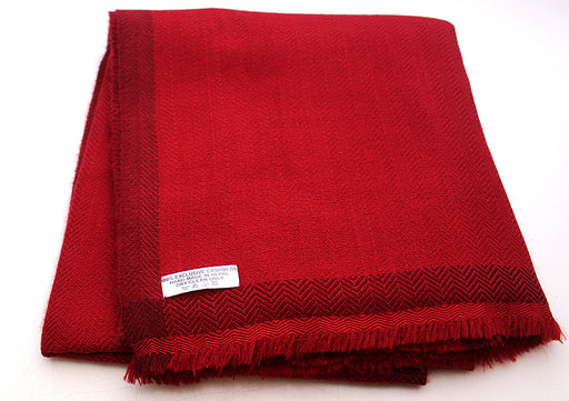100 % Exclusive Maroon Cashmere Shawl with Border Herringbone Pattern - nepacrafts