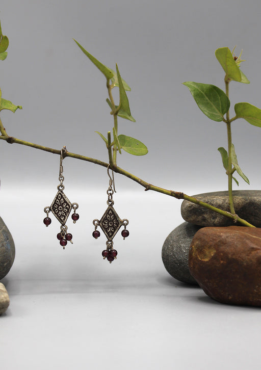Flower Carving with Amethyst Beaded Sterling Silver Earrings
