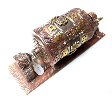 Wall Mounting Om Mani Copper Prayer Wheel Frame - NepaCrafts