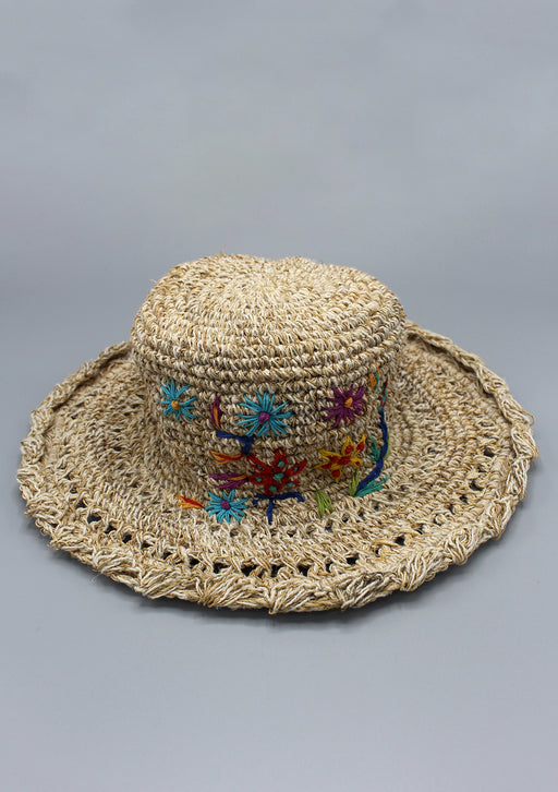 Flower Embroidery Summer Hemp Hat - nepacrafts