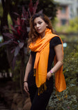 Beautiful Yellow Color Water Pashmina Shawl - NepaCrafts