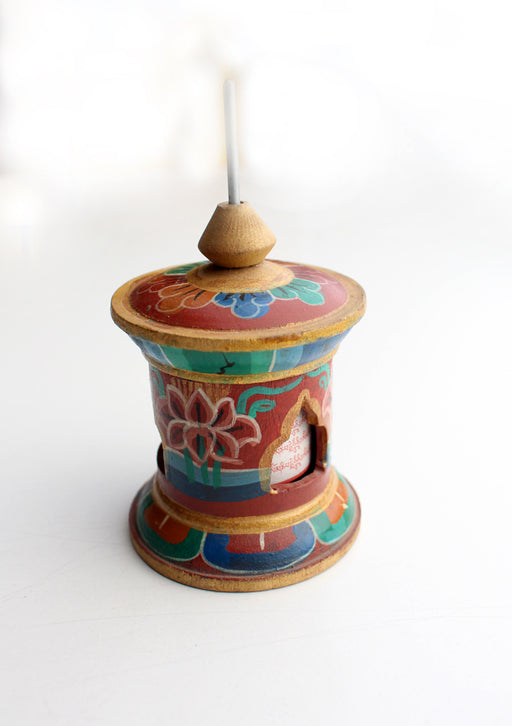 Wooden Spinning Handpainted Desktop Prayer Wheel - nepacrafts