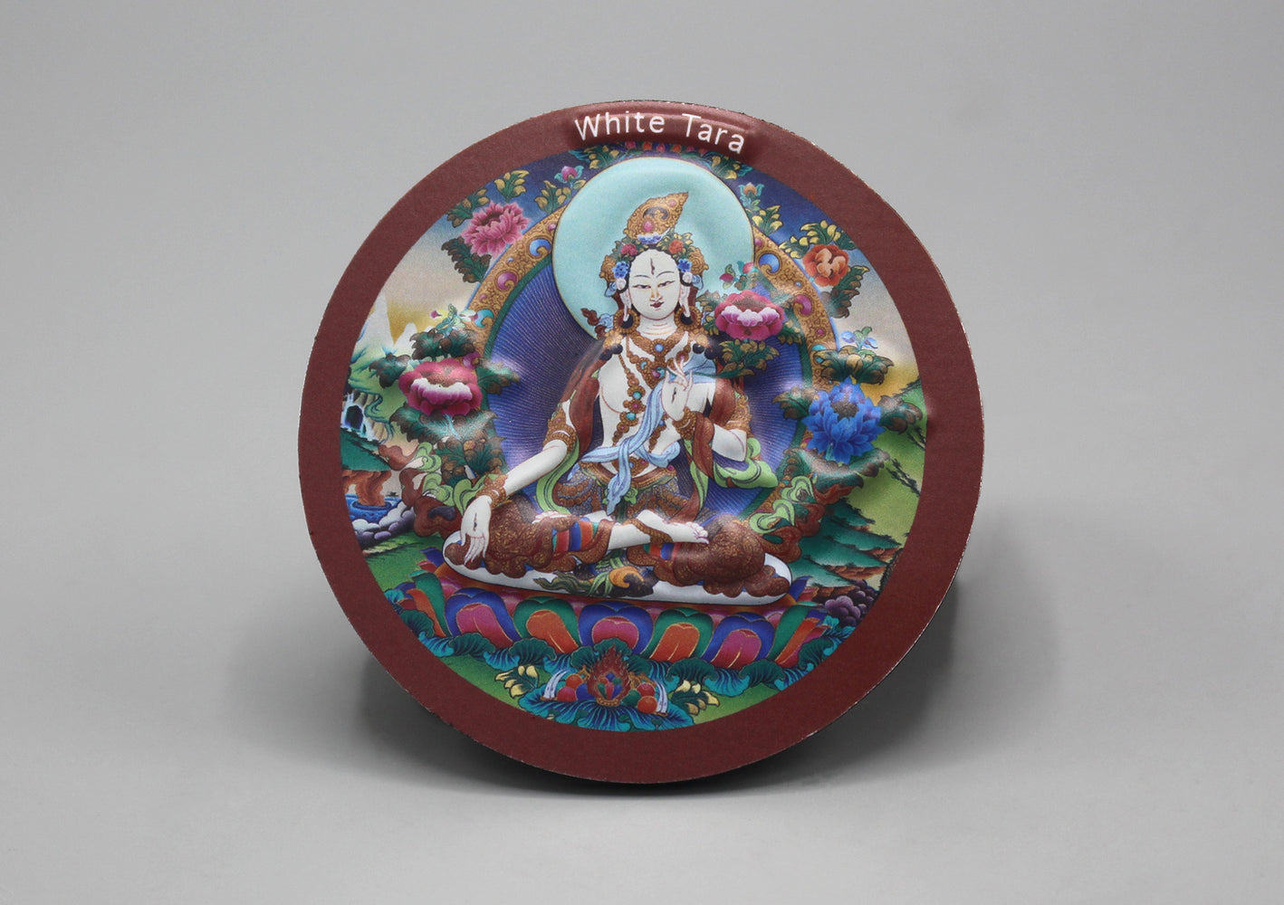 White Tara Round Embossed Fridge Magnet - nepacrafts