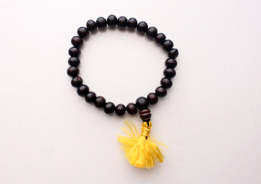 Black Wooden Beads Wrist Mala with Yellow Tassel - nepacrafts