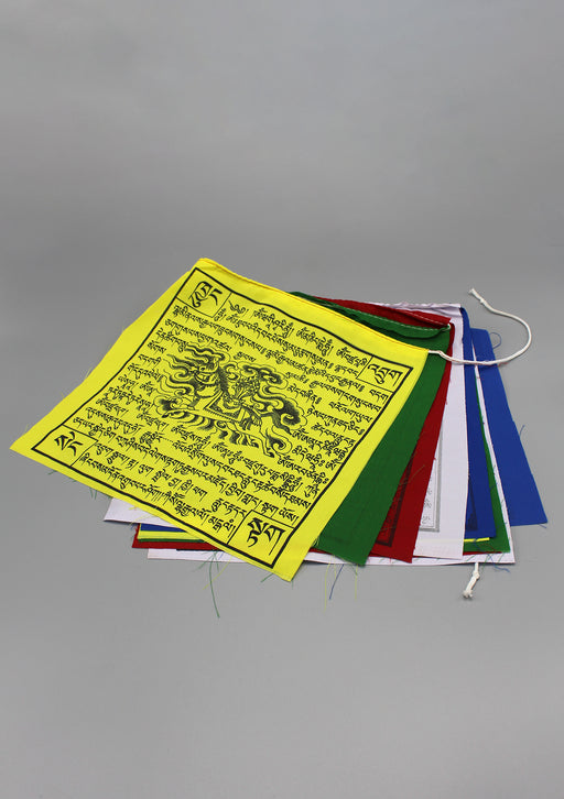 10 Sheets of Tibetan Deities, Mantra and Winshorse Printed Prayer Flags