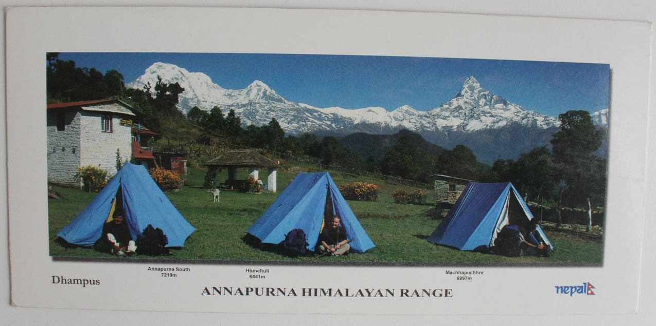 Majestic Annapurna Range from Dhampus Panoramic Postcard - nepacrafts