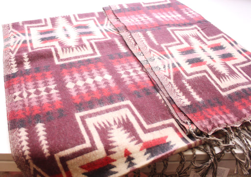 Hand Loomed Maroon & Cream Check Pattern Yak Wool Shawl - nepacrafts
