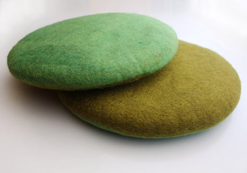 Olive and Light Green Color Double Sided Felt Seat Cover