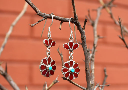 Flower Shaped Drop and Dangle Silver Earrings - nepacrafts