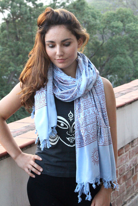 Cotton Om Prayer Shawl with Fringes - nepacrafts
