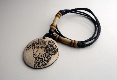 Handcrafted Bone Pendant Necklace-Capricorn