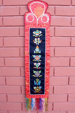 Tibetan Eight Auspicious Symbol Embroidered Polyester Brocade Wall Hanging Banner BH33