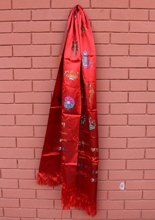 Red Eight Auspicious Symbol Buddhist Offering Scarf Khada