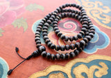 Black Bone Turquoise & Coral Inlaid 108 Beads Prayer Mala - NepaCrafts