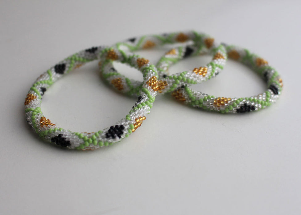 Autumn Gold Green Roll Beads Bracelet - nepacrafts
