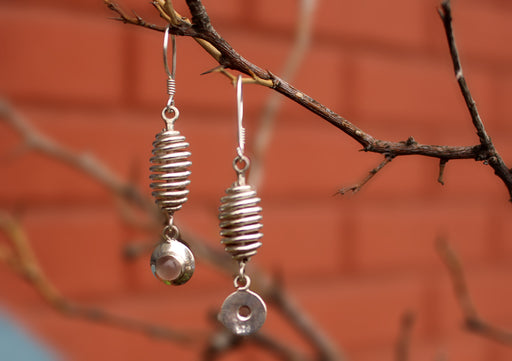 Silver Sterling Spiral Roll with Moon Stone Drop Earrings - nepacrafts