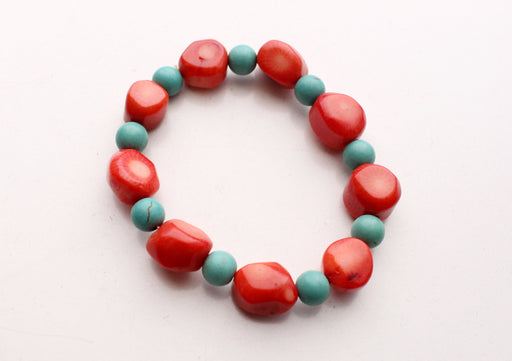 Beautiful Faux Coral and Turquoise Beads Stretchable Bracelet, Yoga Bracelet - nepacrafts