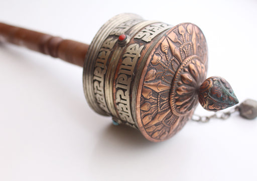 Tibetan Prayer Wheel Carved with Ranjana Script(Lantsa) From Nepal - nepacrafts