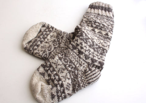 Pure Woolen Grey and White Mixed Knee High Socks - NepaCrafts