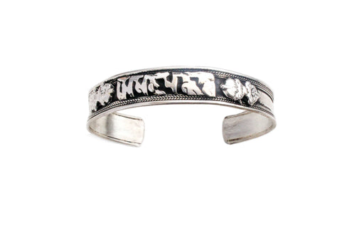 Tibetan OM Mani Adjustable White Metal Bracelet - nepacrafts