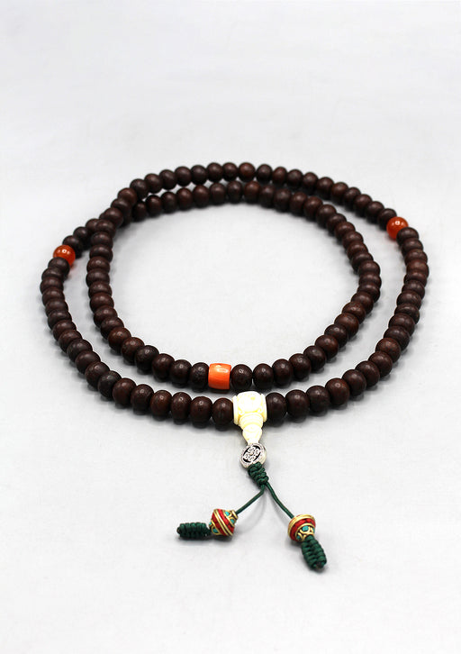 Tibetan Bodhi Beads Prayer Mala with Citrine and Coral Counter