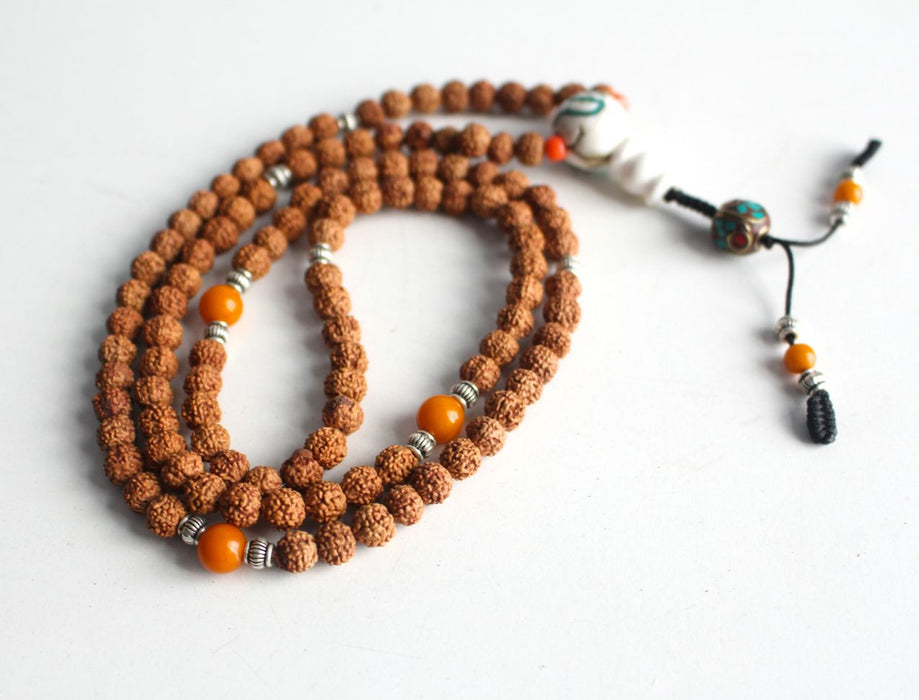 Shiva Rudraksha Mala with Conch Guru - nepacrafts