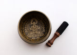 Chenrezig Painted Singing Bowl Set with Silk Brocade Gift Box