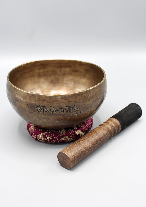 Hand Hammered Tibetan Om Mani Full Moon Singing Bowl
