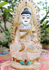 "8"" High Crystal Shakyamuni Buddha Statue with Goldplated Silver Robe - NepaCrafts"