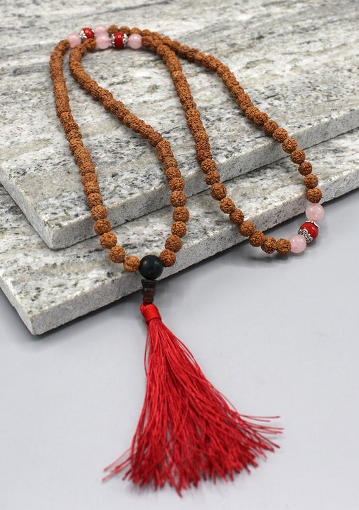 Coral Beads Spacer Rudraksha Meditation Beads Mala
