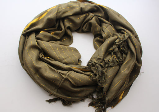 Olive Green Plain Jari Cotton Scarf with Golden Lining - nepacrafts