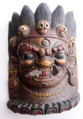 Mahakala Home Decor Wooden Wall Hanging Halloween Mask