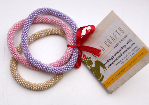Set of Three Stylist Nepalese Roll on Bracelet-Pink, Beige and Purple - nepacrafts