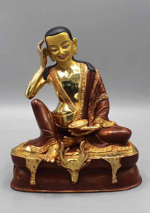 Partly Gold Plated Copper Milarepa Statue
