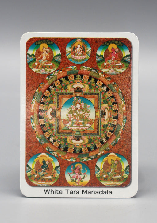 White Tara Mandala Fridge Magnet - nepacrafts