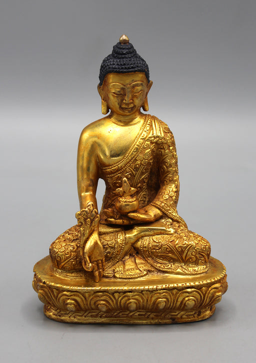 Fully Gold Plated Medicine Buddha Statue - Lotus, Flower carved
