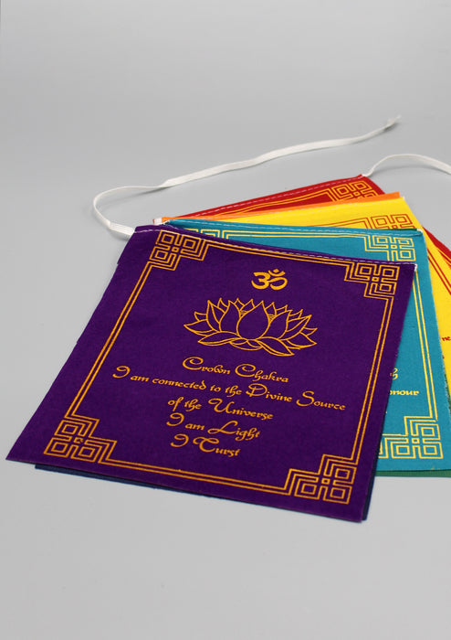 Seven Chakra with Meaningful Message Velvet Prayer Flags - nepacrafts