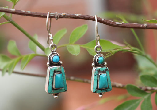 Tibetan Silver Sterling Turquoise Inlaid Earrings - nepacrafts